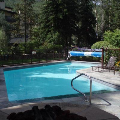 This is the year-round pool overlooking Gore Creek
